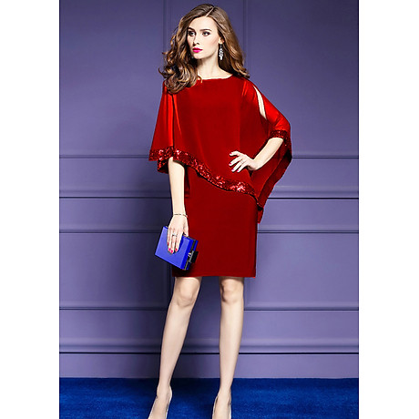 Đầm ôm dự tiệc đẹp kiểu đầm ôm trung niên phối voan đính kim sa bigsize 6