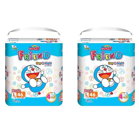 Combo 2 gói tã quần Goo.n Friend L46 thiết kế mới - tặng đồ chơi Toys house 1