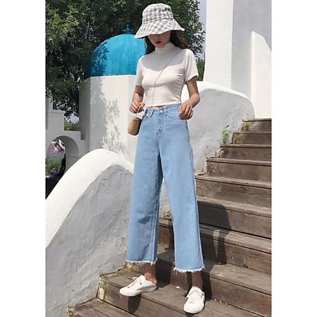quần jean nữ, quần bò nữ ống rộng 3