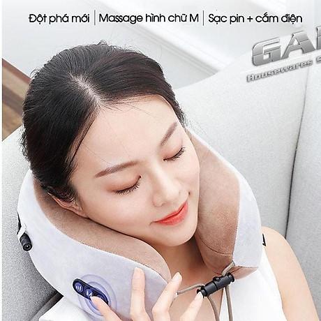 Gối massage vòng cổ kèm pin cao cấp - hỗ trợ điều trị thoái hóa cổ 1