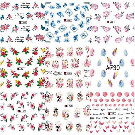 Bộ 10 tấm decal dán móng họa tiết bông hoa, cánh bướm - sticker trang trí móng nghệ thuật Nail art sang trọng H10 6