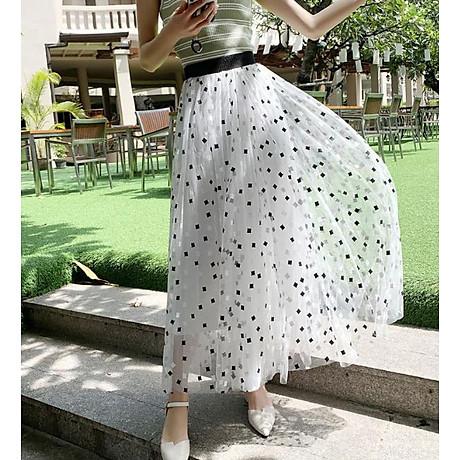 Chân váy lưới tutu dáng dài họa tiết ô vuông free size VAY62 1