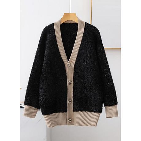 Áo khoác len nữ tính kiểu áo khoác len nhũ kim tuyến cài nút ROMI 1859 1