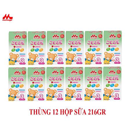 Thùng 12 hộp Sữa Morinaga Số 3 Kodomil 216g Cho Bé Từ 3 Tuổi hương dâu, hương Vani ( không tem đổi quà) 1
