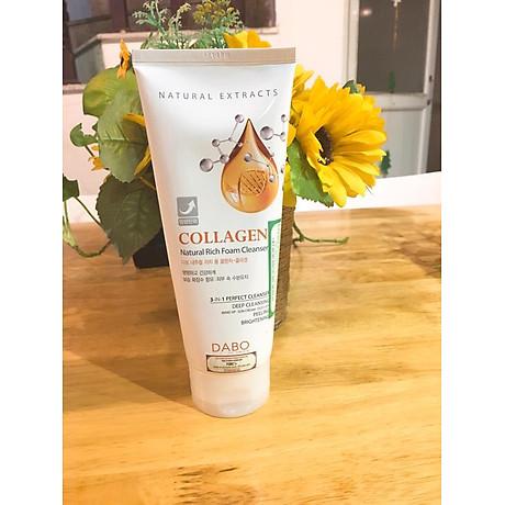 Sữa rửa mặt chống não hoá Dabo Collagen 3 in 1 Hàn Quốc 180ml + Móc khoá 4