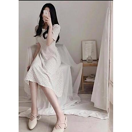 Đầm bi trắng cột nơ V2 3