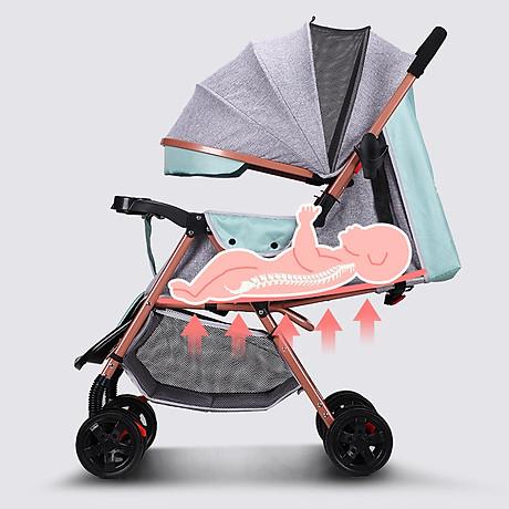Xe đẩy trẻ em 2 chiều 3 tư thế gấp gọn khi đi du lịch, khung chắc chắn có mái che 2