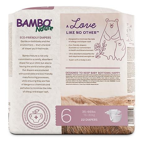 Thùng Tã Dán Em Bé Hữu Cơ Bambo Nature - gốc Đan Mạch - 16-30kg - XXL22 - 6 gói - 22 miếng 3