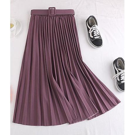 Chân váy xếp ly dáng dài có đai chất vải không nhăn Free size (VAY36) 1