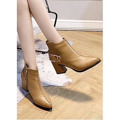 Giày boot nữ cổ trung da pu mềm,gót vuông đi nhiều êm chân,dễ phối thời trang-851 2