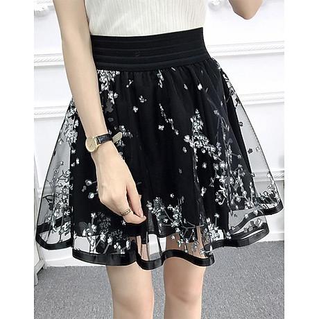 Chân váy xòe dáng ngắn họa tiết Haint Boutique( đen)-freesize cv05 1