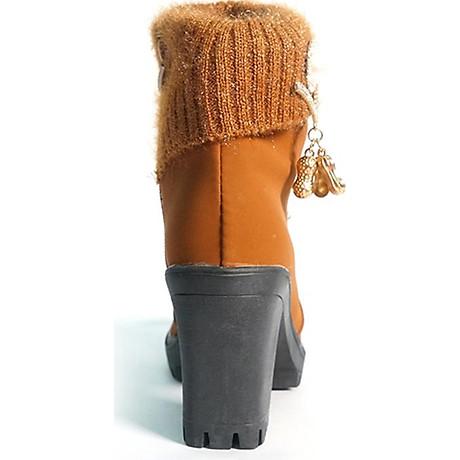 Giày boot nữ đế vuông S106 (Nâu) êm chân, phù hợp đi bộ, đi chơi. 4