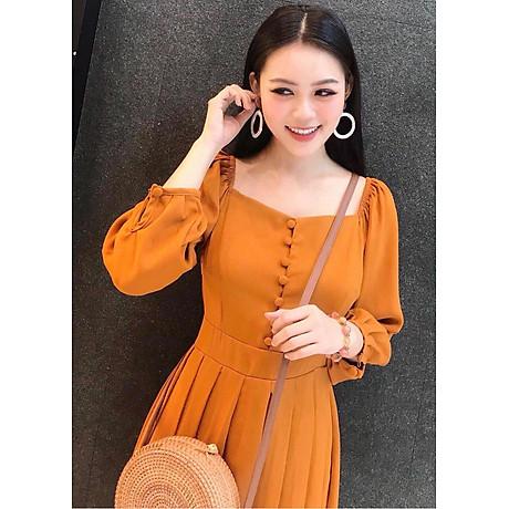 Đầm cam nút bọc xếp li 4