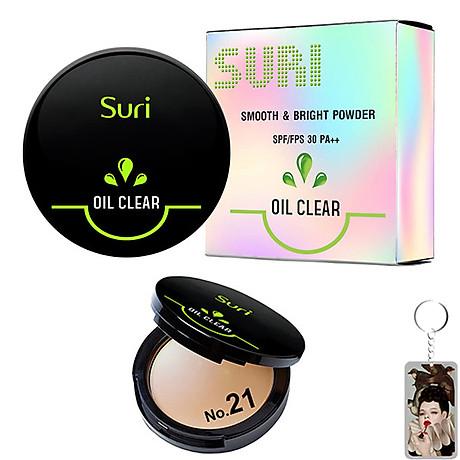 Phấn Trang Điểm Suri Oil Clear Smooth & Bright Powder Hàn Quốc 12g No.21 Da tự nhiên tặng kèm móc khóa 1