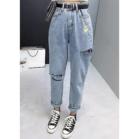 quần baggy jean nữ, quần bò nữ thêu hoa 1