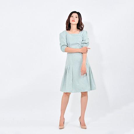Váy đầm công sở nữ thời trang Eden kẻ caro cổ vuông tay lỡ. Kiểu dáng nữ tính. Màu sắc trẻ trung - D410 3