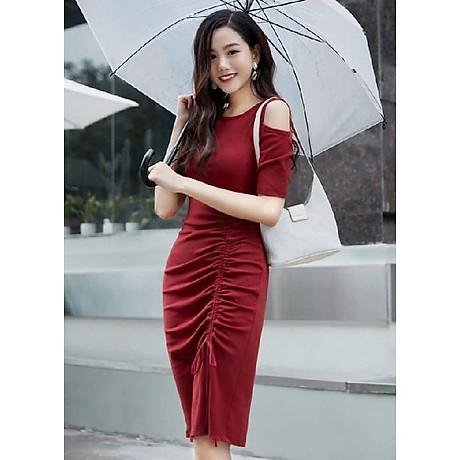 Đầm ôm body màu đỏ thiết kế nhún phần thân cổ điển 1