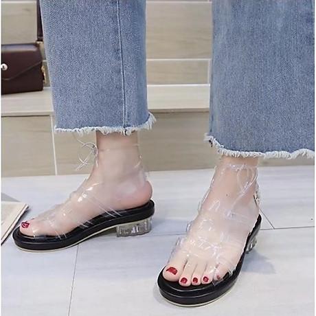 Giày sandal quai trong đế thấp phong cách gladiator S373 3