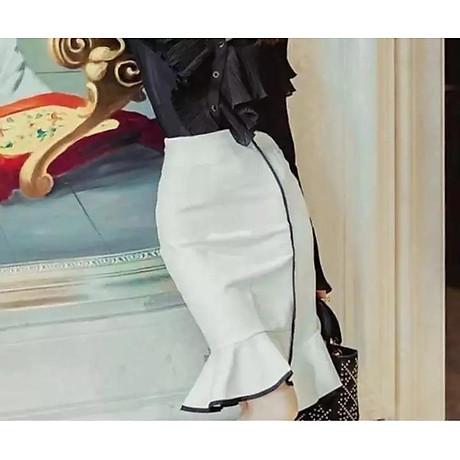 Chân váy lệch lai trắng đuôi cá 2