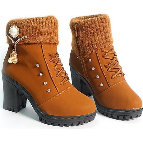 Giày boot nữ đế vuông S106 (Nâu) êm chân, phù hợp đi bộ, đi chơi. 2
