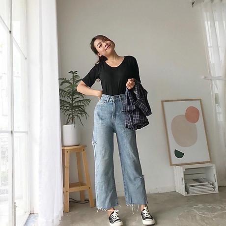 Quần Jeans Nữ Ống Rộng Phối Rách 270 3