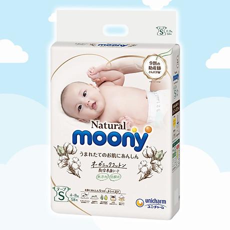 Tã Bỉm dán Moony Natural Size S- 58 miếng( bé 4- 8kg) 1
