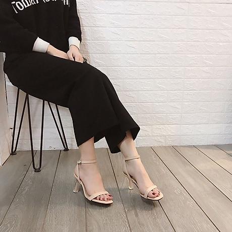Sandal quai ngang gót mika bọc viền pha lê cực sang-sandal nữ, sandal nữ cao gót, sandal cao gót, sandal-gót mika bọc viền pha lê, 7cm 8