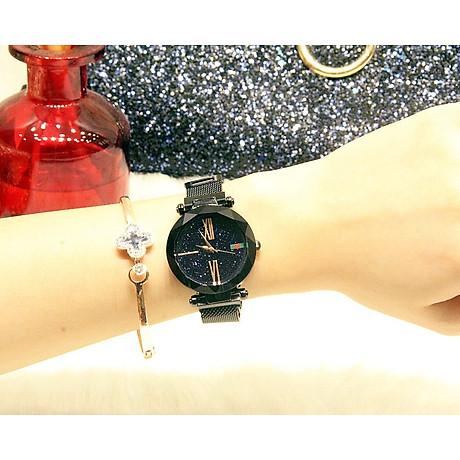 Đồng hồ nữ dây kim loại lưới khóa nam châm mặt tròn đen cá tính ĐHĐ6003 4