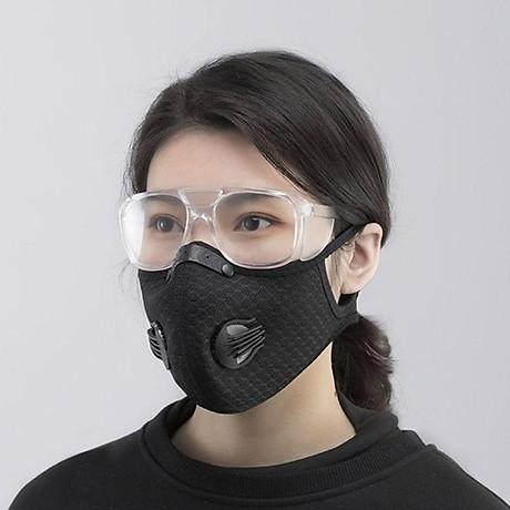 Mặt nạ thể thao gồm Khẩu trang vải Nano kháng khuẩn có 2 van thở kèm kính bảo hộ che mặt tháo lắp đa năng 5