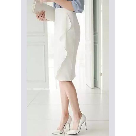 Chân váy bút chì phối bèo cách điệu (trắng) 3
