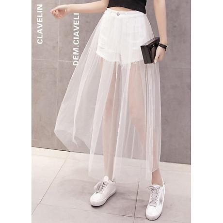 Chân váy maxi jean quần phối ren trắng - CV022 2