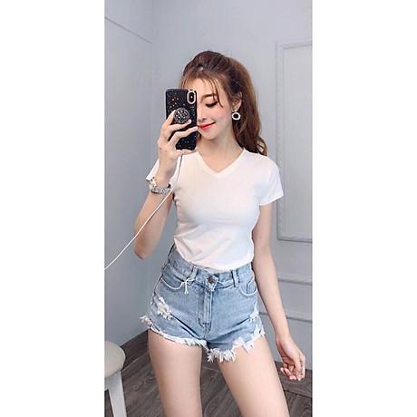 Áo thun nữ trơn cổ tim tay ngắn thun cotton 4 chiều form ôm body MXM ( ANU007 ) 1
