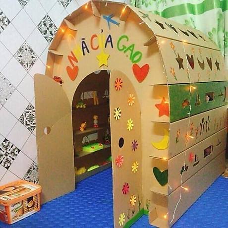 Nhà bìa đồ chơi - Nhà giấy vòm carton 100% bột gỗ - Ngôi nhà bóng cho bé thỏa sức vui chơi [ trẻ em dưới 12 tuổi] 1