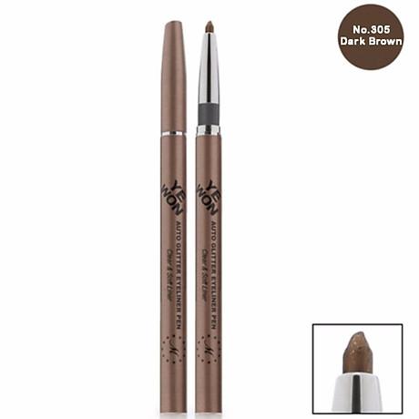 Chì mí kim tuyến Mira Glitter Auto Eyeliner Pen Hàn Quốc No.305 Dark brown tặng kèm móc khoá 2