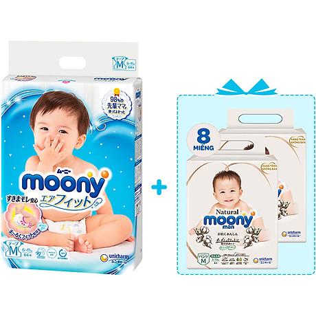 Tã Dán Cao Cấp Moony Nhật Bản M64 - [Tặng 8 Miếng Moony Natural Cùng Size] 2