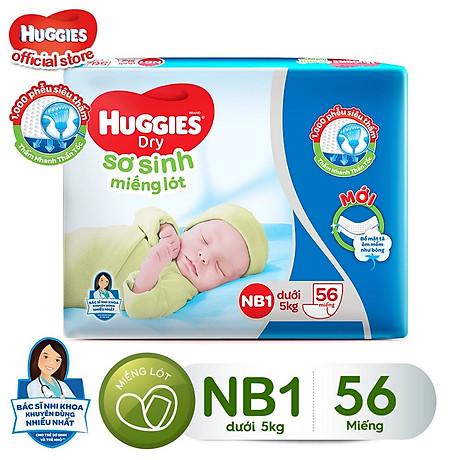 Miếng Lót Sơ Sinh Huggies Dry Newborn 1 - 56 (56 Miếng) - Bao Bì Mới 1
