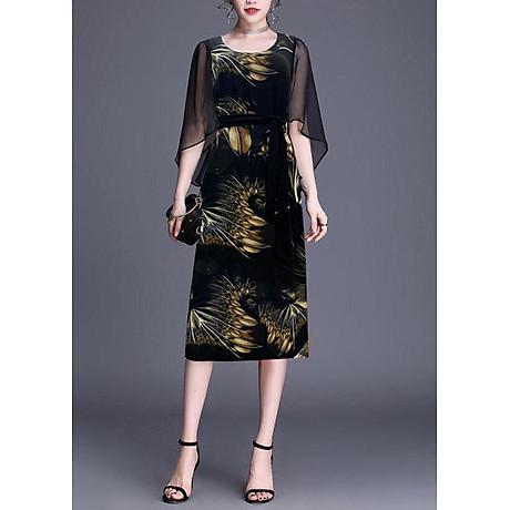 Đầm Suông BigSize In Hoa Lá Kiểu Đầm Suông Trung Niên Dự Tiệc Size Lớn ROMI 3269 4