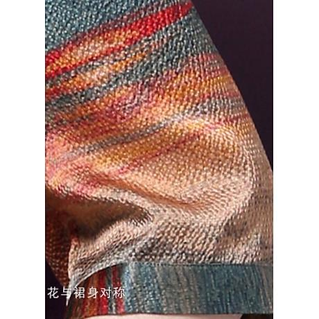 Đầm Suông BigSize Cổ Trụ In Họa Tiết Hoa Và Cá Kiểu Đầm Suông Trung Niên Dự Tiệc Size Lớn ROMI 1521D 4