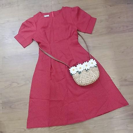 Đầm Caro Đỏ Tay Xếp Li Form Dài 3
