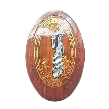 Gương trang điểm gỗ hương khảm xà cừ (Dài 10,5cm, Rộng 7cm) 1