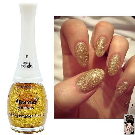 Sơn móng tay Aroma Nail Polish Hàn Quốc 12ml 63 lấp lánh vàng tặng kèm móc khóa 4