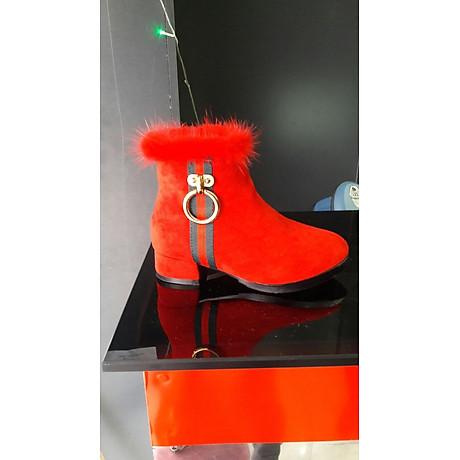 Giày Boost Nữ Da Lộn Cổ Đính Lông Đỏ - BDLN 1