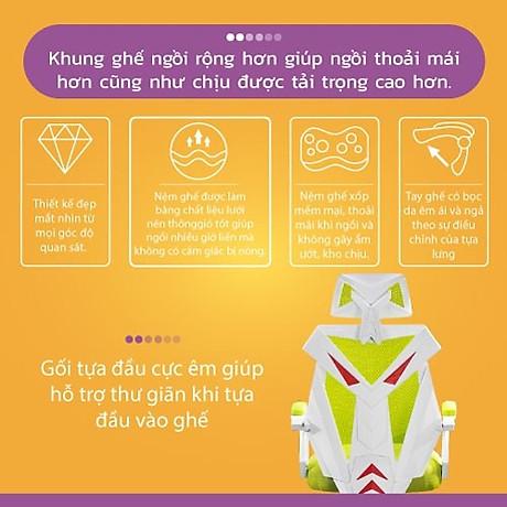 Ghế chơi game cao cấp, chân xoay ngã 135 độ dành cho game thủ có gối tựa đầu mẫu E03 Thái Lan (Hàng nhập khẩu) 4
