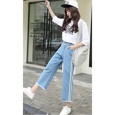 Quần Jeans Nữ Ống Rộng Phối Sọc 235 1