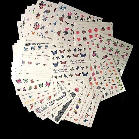 Bộ 10 tấm decal dán móng họa tiết bông hoa, cánh bướm - sticker trang trí móng nghệ thuật Nail art sang trọng H10 4