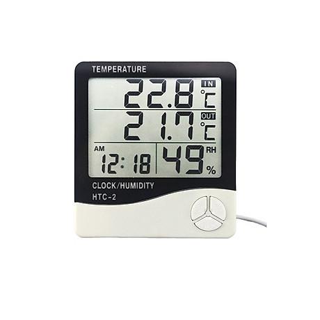 Đồng hồ để bàn màn hình Led dùng để đo nhiệt độ, độ ẩm HTC - 2 ( Tặng kèm 01 miếng thép đa năng để ví ) 1