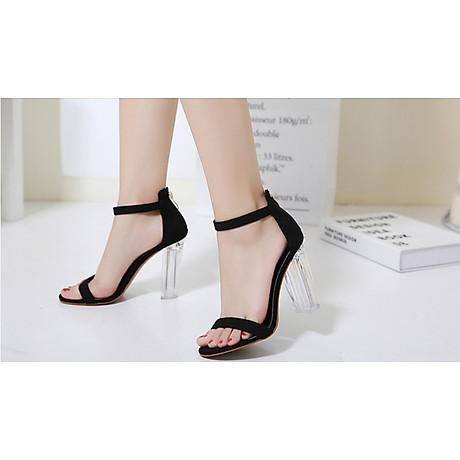 Giày Cao Gót Nữ Màu Đen Da Nhung Mịn Cao Cấp Gót Trong Suốt Tôn Dáng Đẹp CTCGQ8010 6