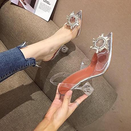 Giày Sandal Nữ Cao Gót Hoa Mặt Trời Trong Suốt Gót 5p Êm Chân kèm Tất Vớ Da Chân - Giày cao gót nữ quai trong hoa đá- mũi nhọn sang chảnh 1