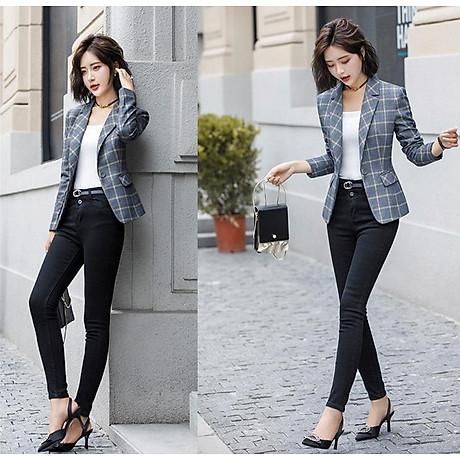 Áo khoác vest nữ caro phong cách Hàn Quốc NA66 6