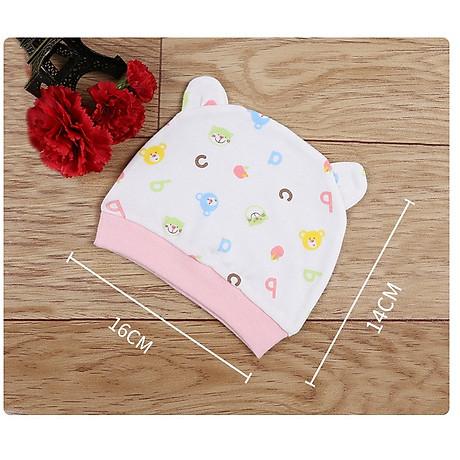 Combo 2 Mũ Che Thóp Cotton Mềm Cho Trẻ Sơ Sinh 0-6 Tháng - Họa Tiết Bé Gái 9